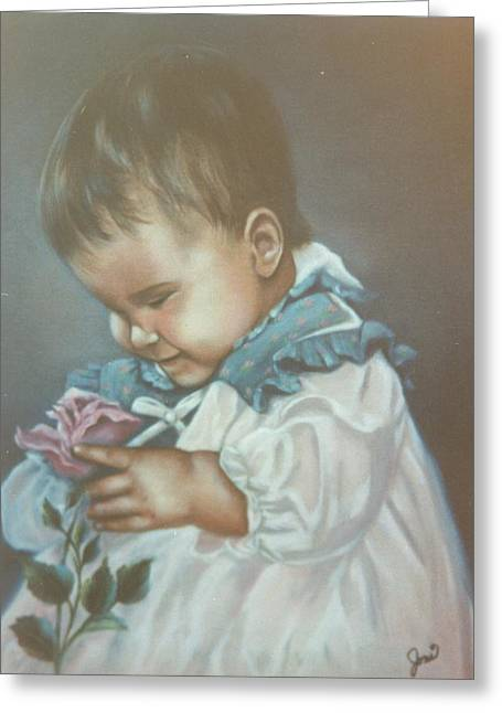 Portraits Greeting Cards - Girli Holding Rose Greeting Card by Joni McPherson