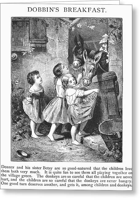 1870s Greeting Cards - GIRLS AND DONKEYS, c1870 Greeting Card by Granger