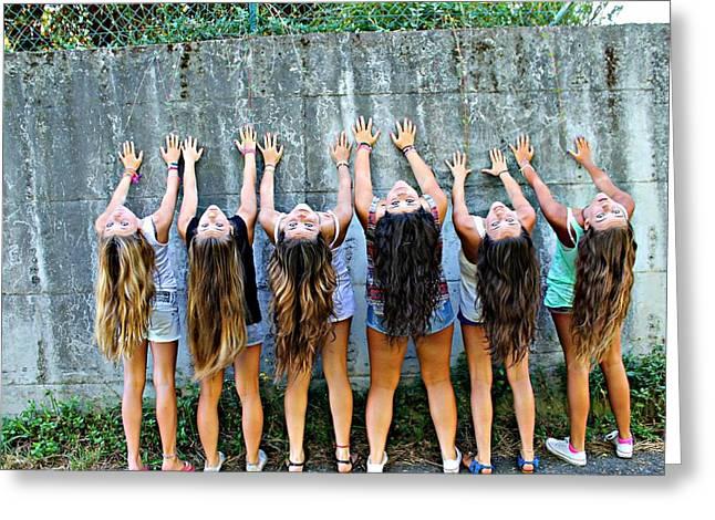 Girls And Long Hair Greeting Card by Jenny Senra Pampin