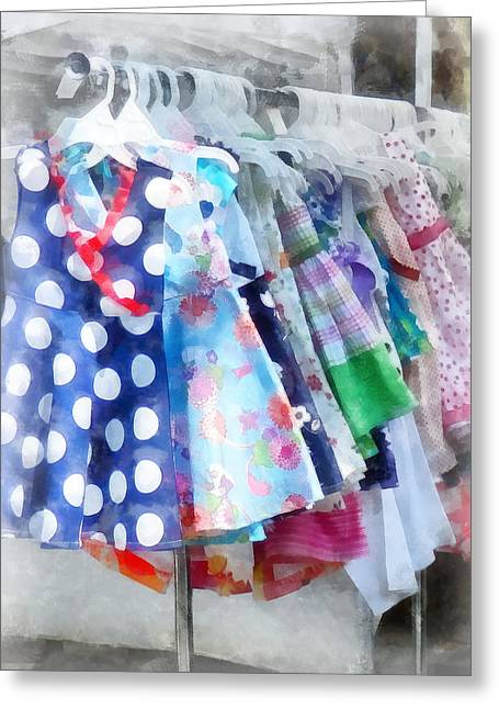 Plaid Dress Greeting Cards - Girls Dresses at Street Fair Greeting Card by Susan Savad