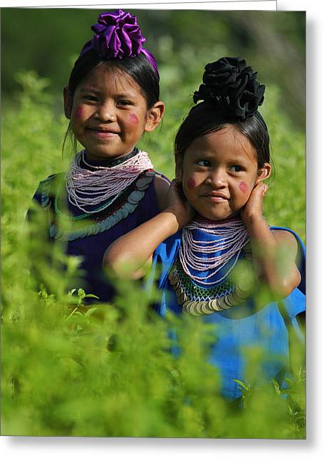 Indigenous Greeting Cards - Girls Guarani indigenous. Bolivian Chaco.  Greeting Card by Eric Bauer