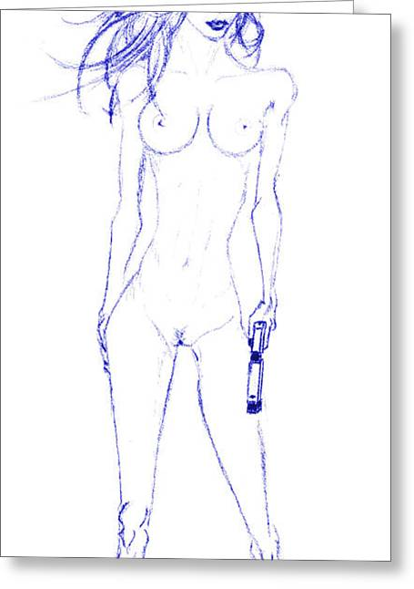 Girl's Gun Blue Greeting Card by Rob Turner