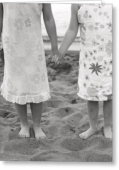 Two Persons Greeting Cards - Girls Holding Hand On Beach Greeting Card by Michelle Quance