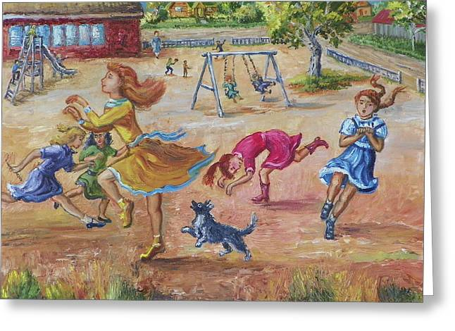 Girls Playing Horse Greeting Card by Dawn Senior-Trask