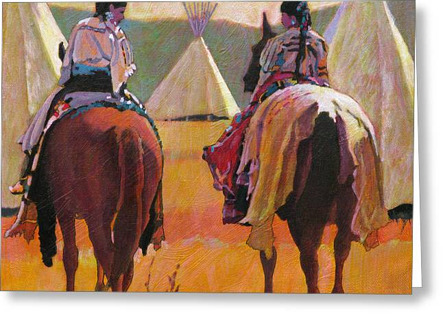 Wow Paintings Greeting Cards - Girls Riding Greeting Card by Robert Bissett