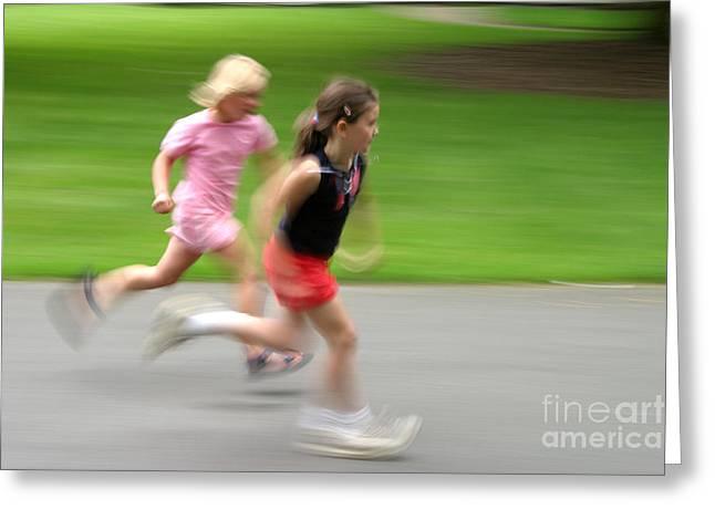 Jogging Greeting Cards - Girls Running Greeting Card by Ted Kinsman