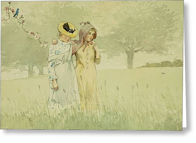 Paper Paintings Greeting Cards - Girls strolling in an Orchard Greeting Card by Winslow Homer