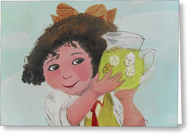 Acrylic Art Greeting Cards - Girls with Lemonade Greeting Card by Jose Valeriano