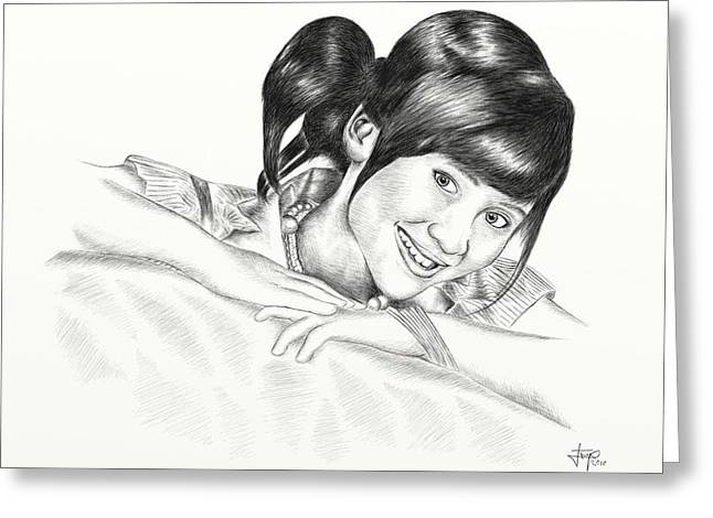 Sketch Pyrography Greeting Cards - GITA GUTAWA young singer from Indonesia Greeting Card by Yudiono Putranto