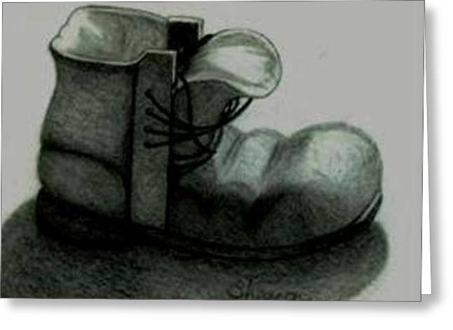 Black Boots Drawings Greeting Cards - Give em the Boot Greeting Card by Shannon Redmon