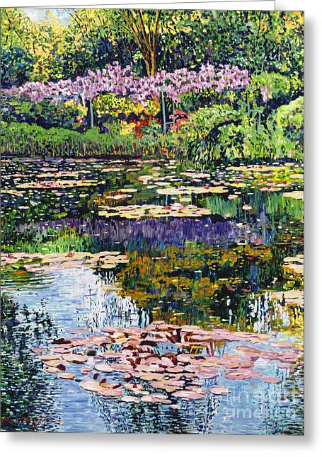 Blue Green Water Greeting Cards - Giverny Reflections Greeting Card by David Lloyd Glover