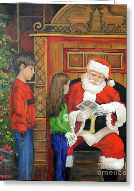 Saint Hope Paintings Greeting Cards - Giving the List to Santa Greeting Card by Jost Houk