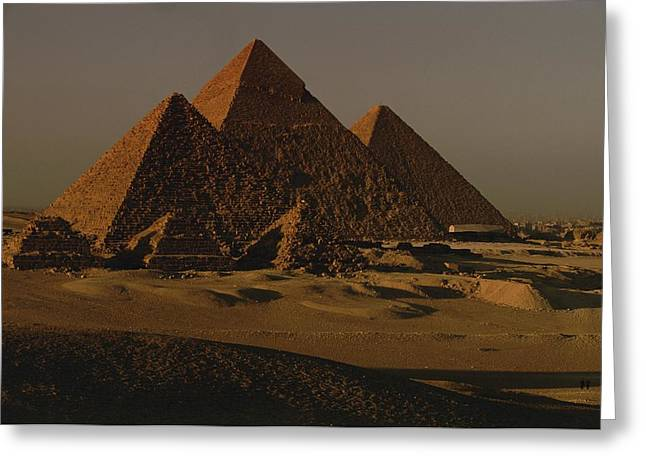 Giza Pyramids From Left Kings Menkure Greeting Card by Kenneth Garrett