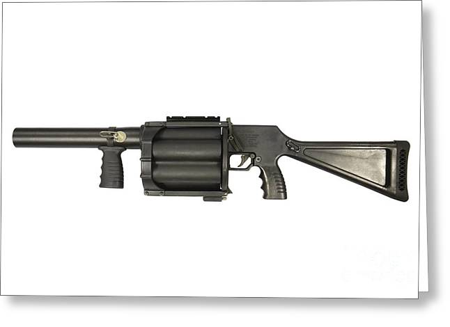 40mm Greeting Cards - Gl6 40mm Grenade Launcher Greeting Card by Andrew Chittock