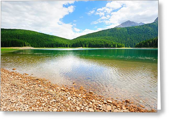 Black Top Greeting Cards - Glacial Black lake in Durmitor  Greeting Card by Roman Rodionov