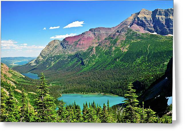 Glacier National Park Greeting Cards - Glacial Lakes Greeting Card by Greg Norrell
