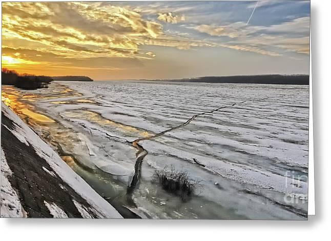 Glaciation Of The Danube. Greeting Card by Evmeniya Stankova