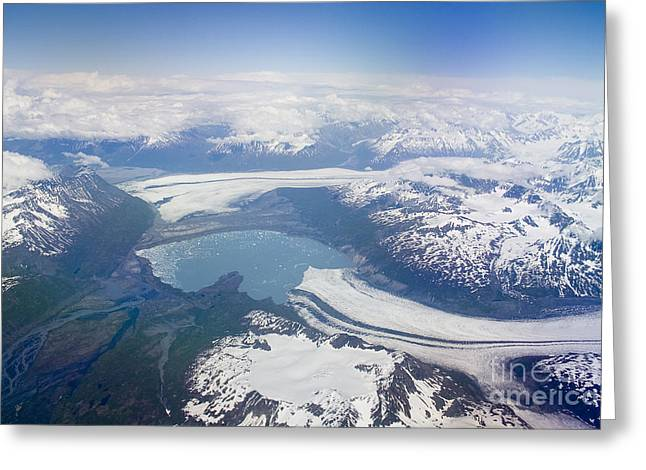 Areal Greeting Cards - Glacier Lake near Juneau Greeting Card by Darcy Michaelchuk