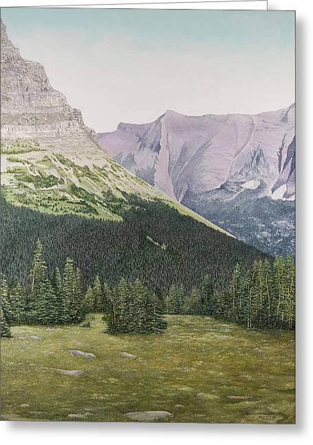 Park Scene Paintings Greeting Cards - Glacier National Park Montana Greeting Card by Mary Ann King