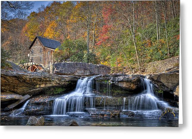 Grist Mill Greeting Cards - Glade Creek Grist Mill at Babcock Greeting Card by Williams-Cairns Photography LLC