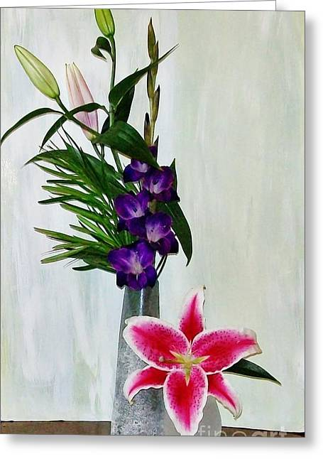 Gladiolas Greeting Cards - Gladiola and a Star Greeting Card by Marsha Heiken