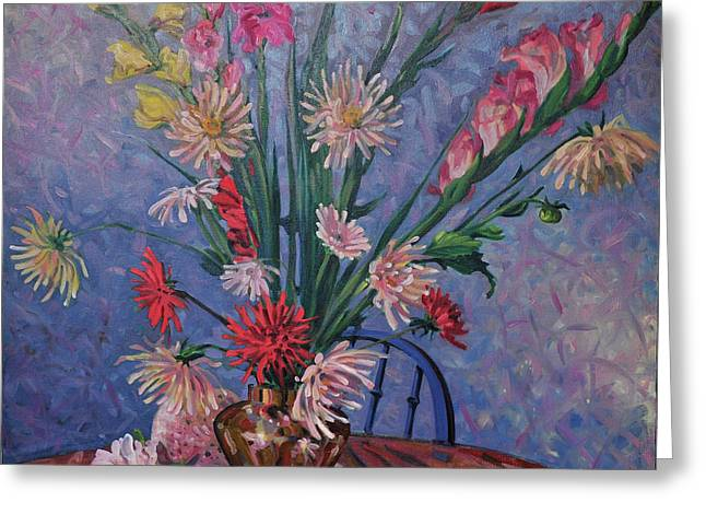 Gladiolas Paintings Greeting Cards - Gladiolas and Dahlias Greeting Card by Donald Maier
