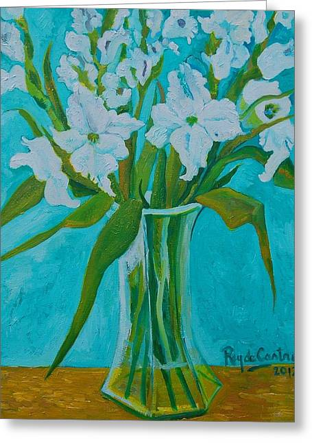 Gladiolas Paintings Greeting Cards - Gladiolas on blue Greeting Card by Pilar Rey de Castro