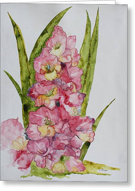 Patsy Sharpe Paintings Greeting Cards - Gladiolas Greeting Card by Patsy Sharpe