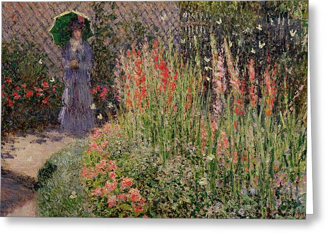 1876 Greeting Cards - Gladioli Greeting Card by Claude Monet
