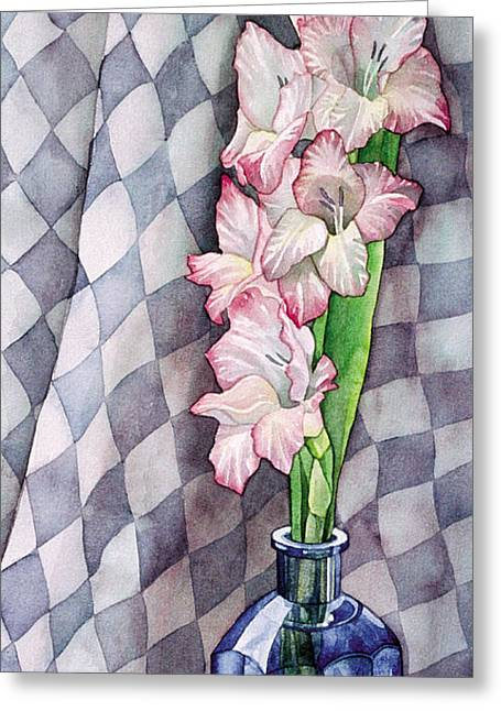 Gladiolas Paintings Greeting Cards - Gladioli in Blue Bottle Painting Greeting Card by Linda Wells