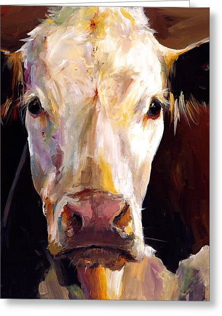 Impressionistic Greeting Cards - Gladys the Cow Greeting Card by Cari Humphry