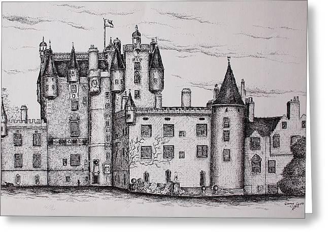 Glamis Castle Greeting Card by Sheep McTavish