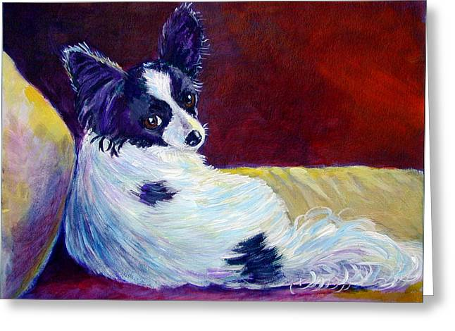 Glamor - Papillon Dog Greeting Card by Lyn Cook