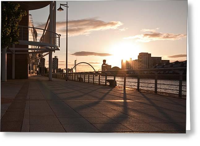 Concrete Bridge Greeting Cards - Glasgow Promenade Greeting Card by Tom Gowanlock