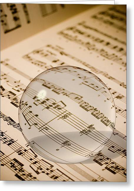 Understand Greeting Cards - Glass Ball on Sheet Music Greeting Card by Utah Images