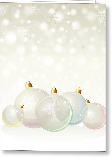 Glass Baubles Pastel Greeting Card by Jane Rix
