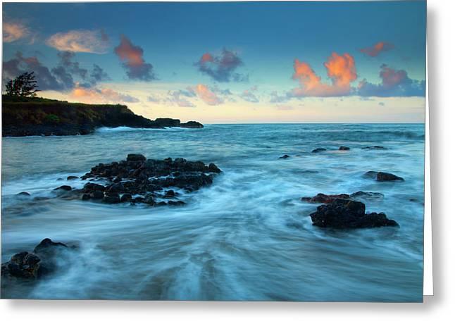 Tropical Oceans Greeting Cards - Glass Beach Dawn Greeting Card by Mike  Dawson
