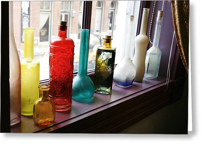 Old Glasses Greeting Cards - Glass Bottles in Window Greeting Card by Marilyn Hunt
