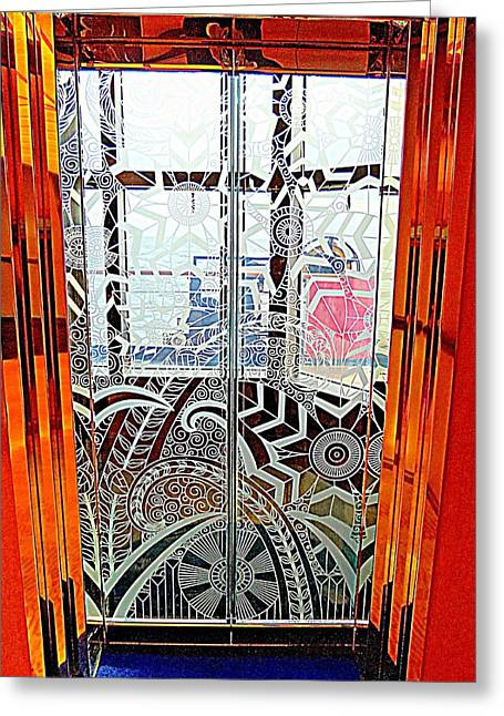 Glass Doors Greeting Cards - Glass Elevator Doors Greeting Card by Randall Weidner
