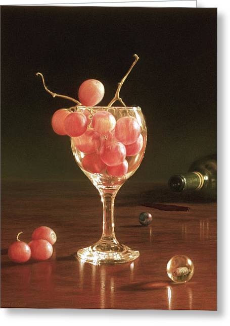 Dark Wood Table Greeting Cards - Glass Grapes and Marbles Greeting Card by Barbara Groff