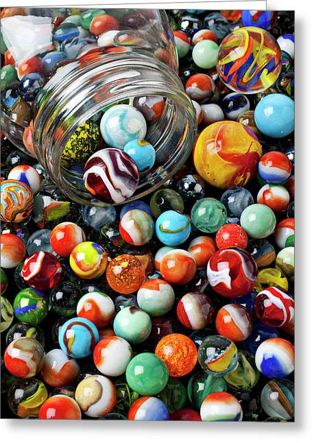 Glass Ball Greeting Cards - Glass jar and marbles Greeting Card by Garry Gay