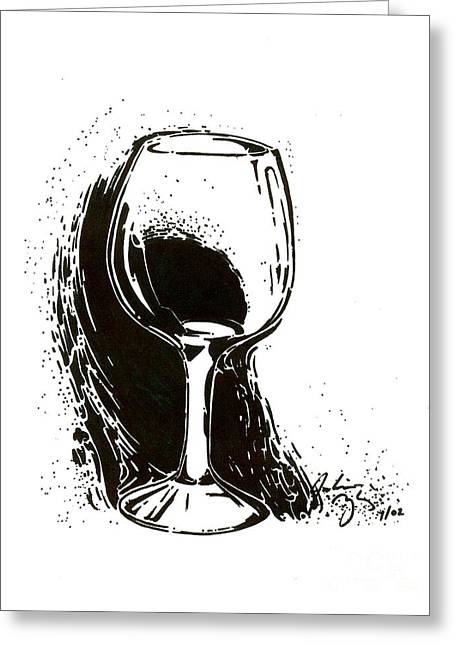 Decanters Drawings Greeting Cards - Glass Greeting Card by Julianna Ziegler