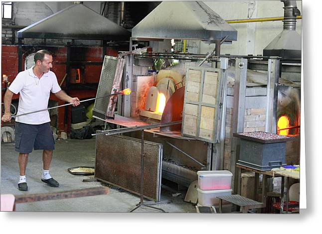 Artist Working Greeting Cards - Glass manufacture in Murano Greeting Card by Paul Cowan