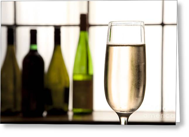 Prosecco Greeting Cards - Glass of Champagne Greeting Card by Charlotte Lake