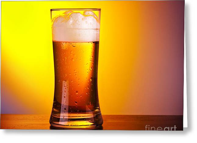 Amber Beer Greeting Cards - Glass of refreshing beer Greeting Card by Anna Omelchenko
