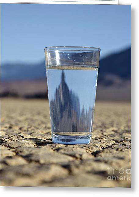 Death Of Waters Greeting Cards - Glass of Water in Desert Greeting Card by David Buffington