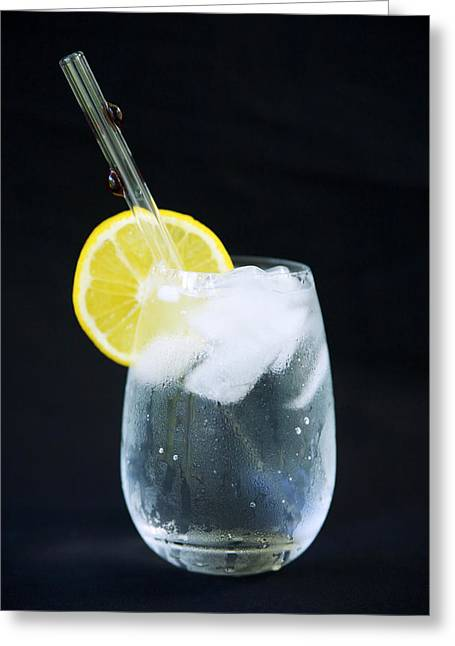 Lemon Art Greeting Cards - Glass of Water Greeting Card by Kicka Witte - Printscapes