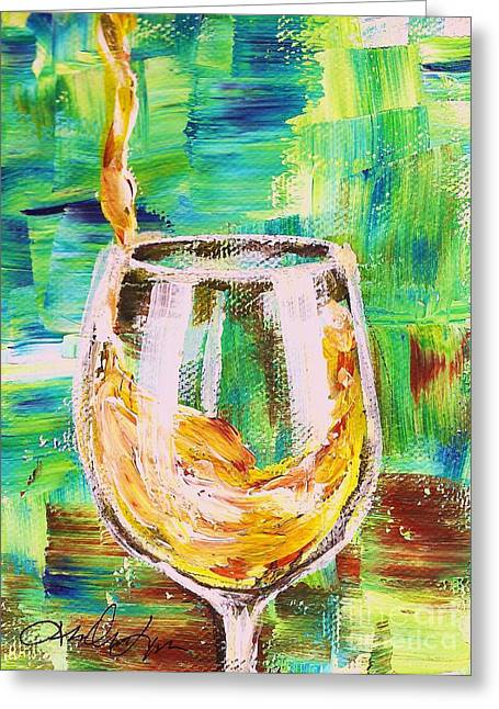 Wine Pouring Paintings Greeting Cards - Glass of White Greeting Card by Lisa Owen-Lynch