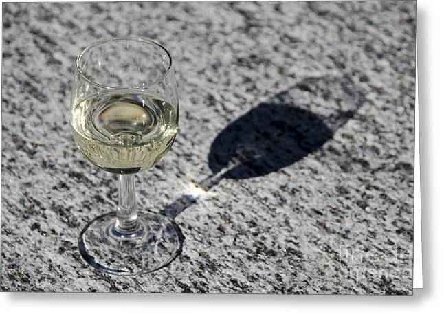 Table Wine Greeting Cards - Glass of white wine Greeting Card by Mats Silvan