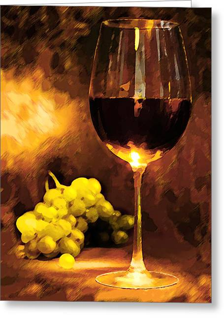 Sparkling Wines Digital Greeting Cards - Glass of Wine and Green Grapes by Candlelight Greeting Card by Elaine Plesser